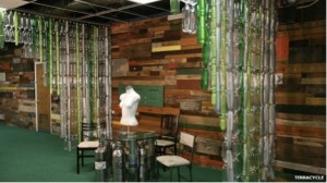 The TerraCycle office in the US uses recycled bottles as wall dividers